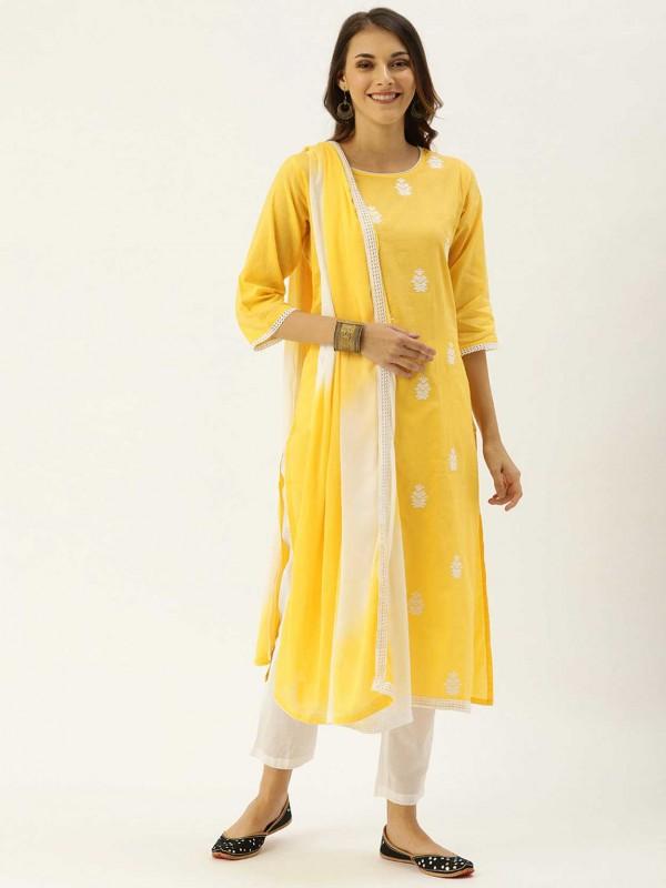 Yellow,White Colour Cotton Salwar Suit.