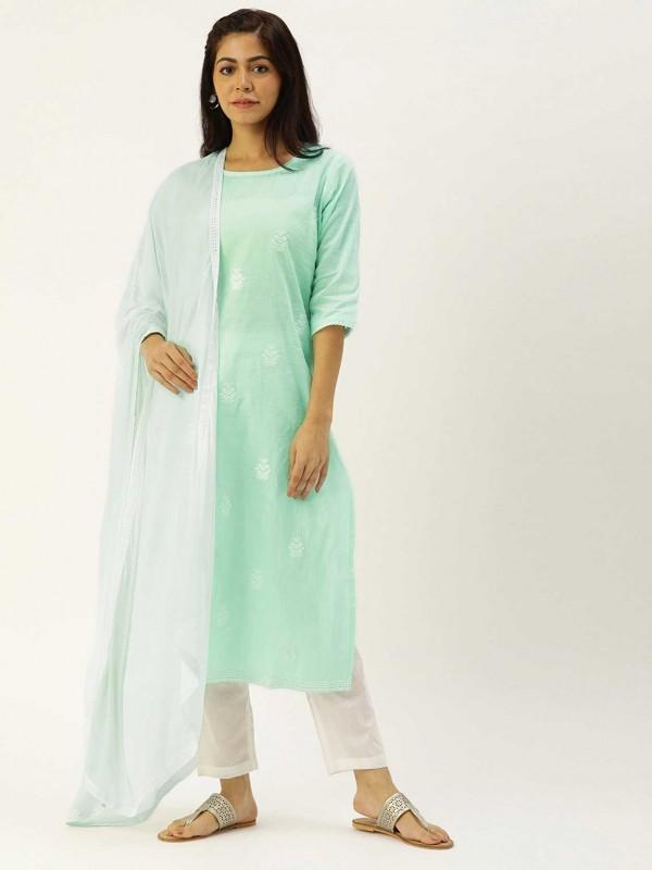 Cotton Salwar Suit Sky Blue Colour.