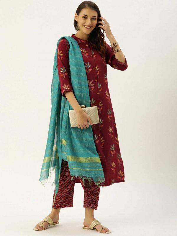 Maroon Colour Printed Salwar Suit.