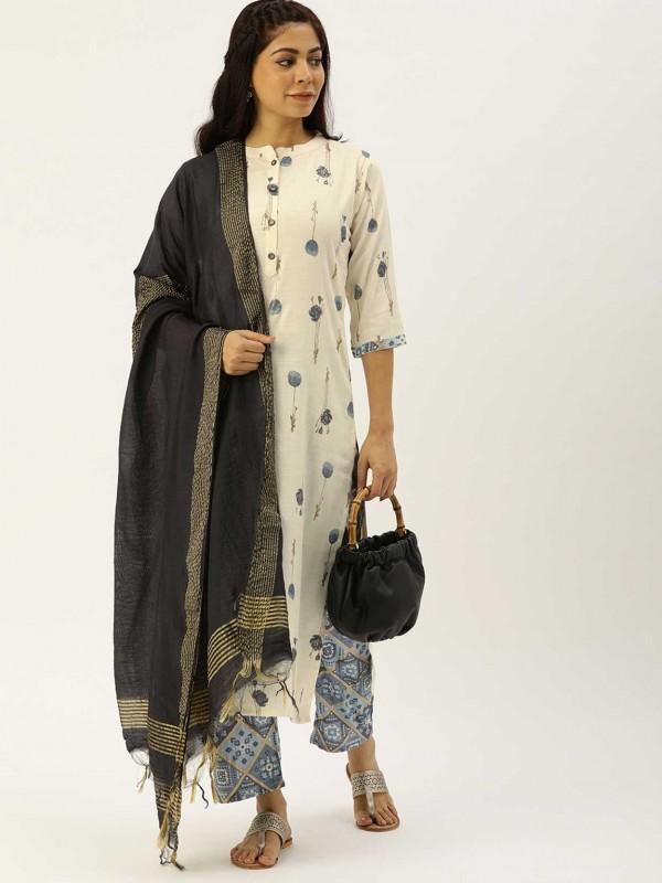 Off White Colour Cotton Casual Salwar Suit.