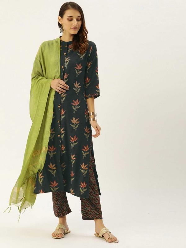 Green,Blue Colour Cotton Printed Salwar Suit.