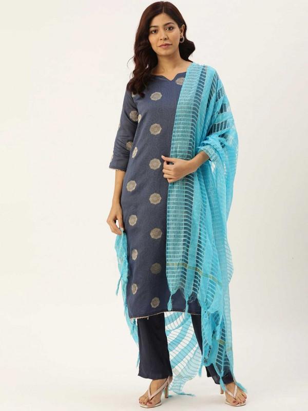 Grey Colour Chanderi Silk Salwar Suit.