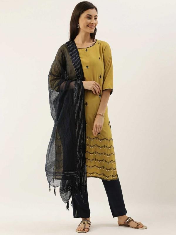 Yellow,Black Colour Silk Salwar Kameez.
