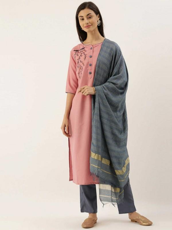 Pink,Grey Colour Cotton Casual Salwar Kameez.