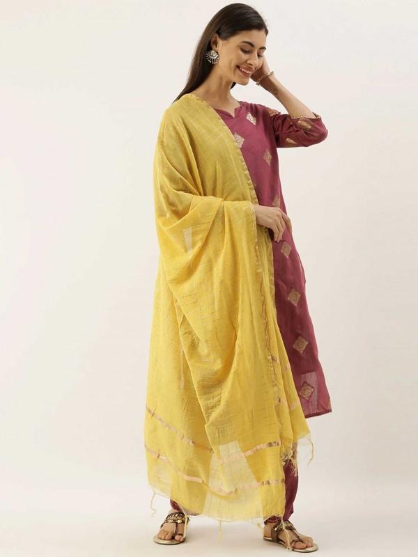 Light Purple Colour Chanderi Silk Salwar Suit.