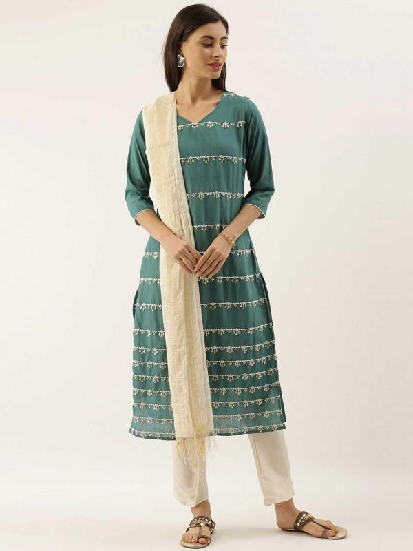 Green Colour Silk Salwar Suit.