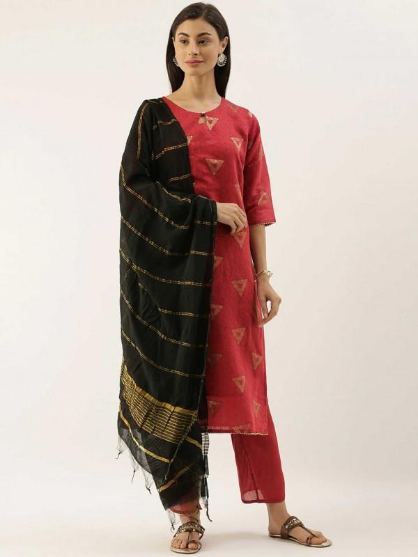 Red Colour Chanderi Silk Salwar Kameez.