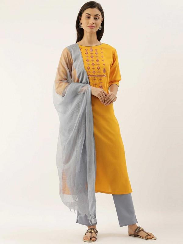 Chanderi Silk Salwar Suit Yellow Colour.
