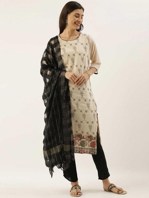 Off White,Cream Colour Silk Salwar Kameez.