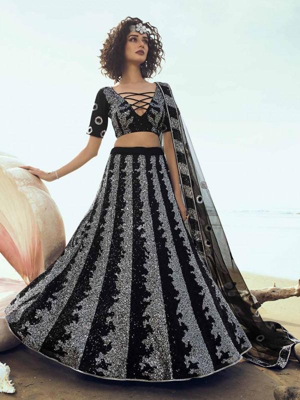 Black Lehenga Choli in Net Fabric With Sequin Work