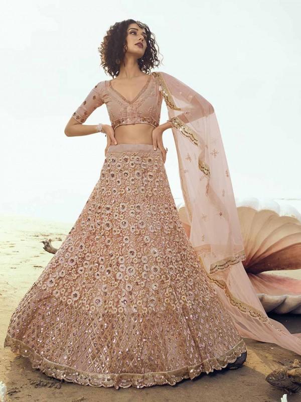 Peach Colour Lehenga in Net Fabric With Sequin,Thread Work.