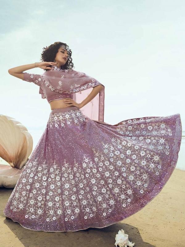 Purple Colour Net Lehenga Choli in Sequin,Thread Work.