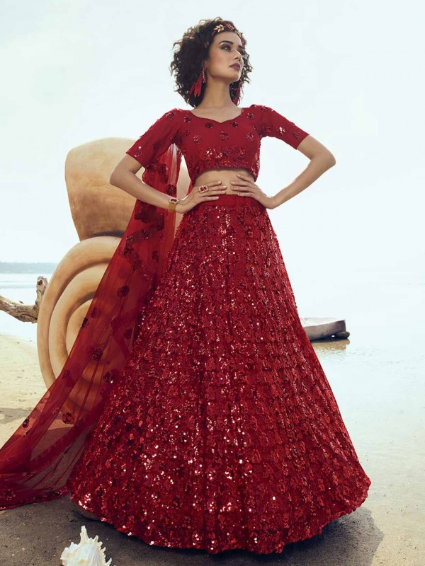 Wedding Designer Lehenga Choli Red Colour Net Fabric.