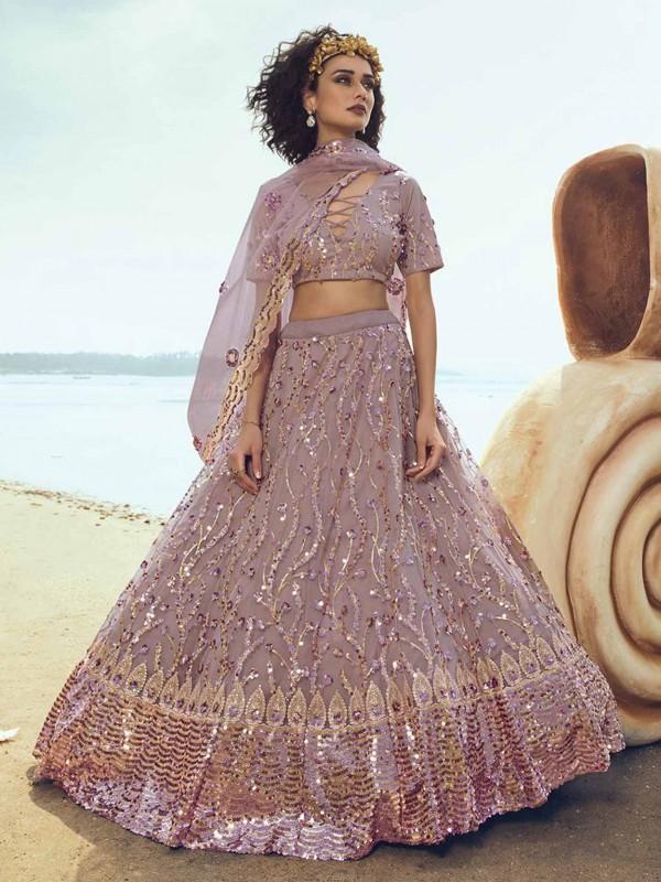 Pink,Purple Colour Net Lehenga Choli With Sequin,Thread Work.