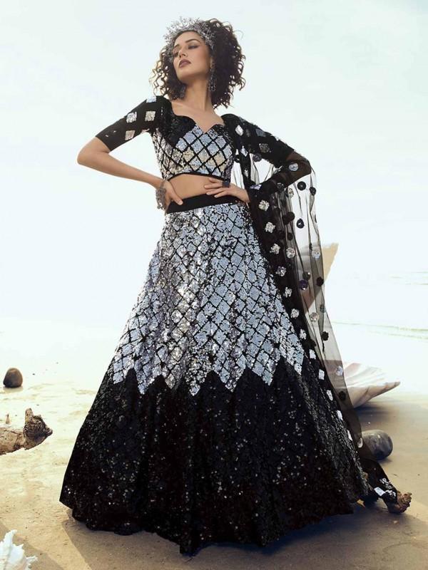Net Fabric Black Colour Lehenga Choli.