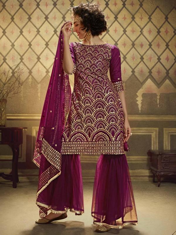 Wine Colour Designer Sharara Salwar Suit.