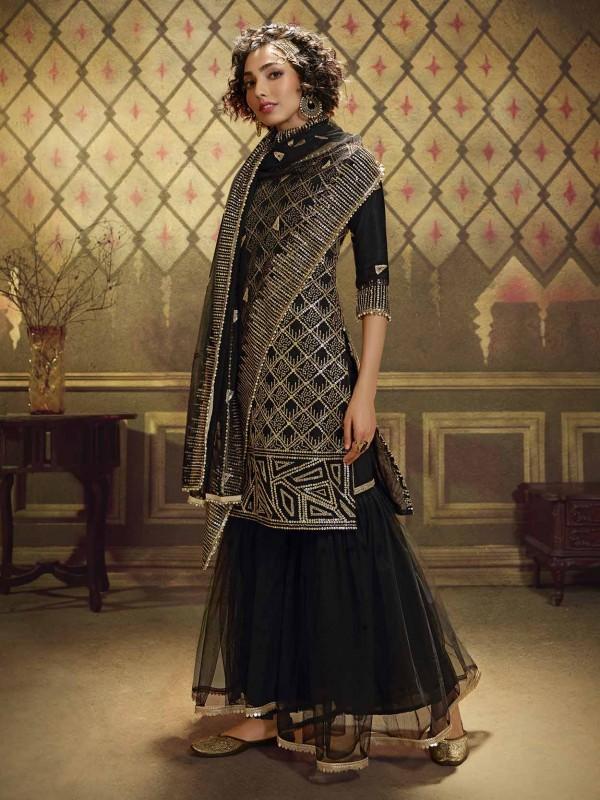 Party Wear Sharara Salwar Suit Black Colour.