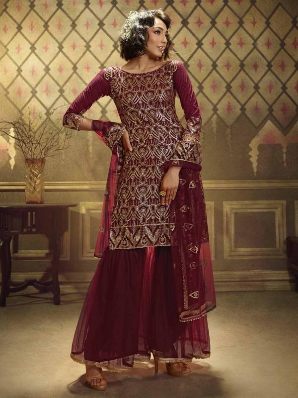 Maroon Colour Net Designer Sharara Salwar Suit.