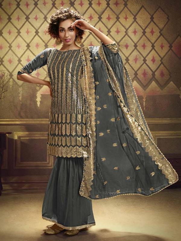 Grey Colour Net Sharara Salwar Kameez.