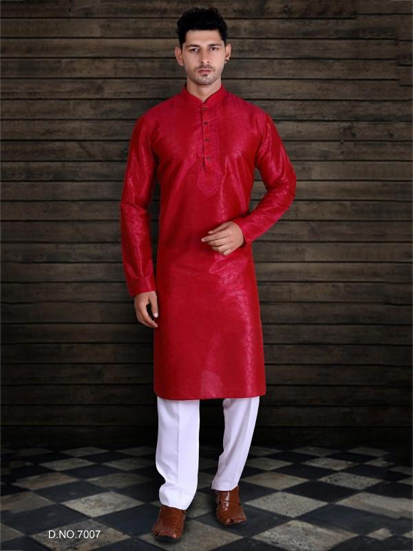 Red Colour Party Wear Kurta Pajama.