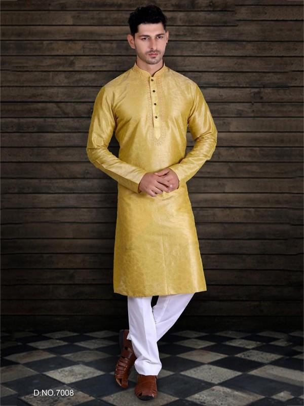 Traditional Kurta Pajama Yellow Colour in Art Silk Fabric.