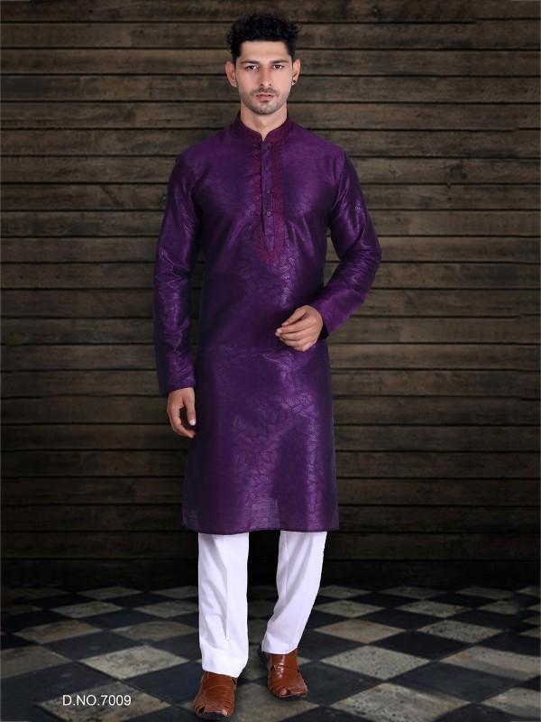 Purple Colour Art Silk Kurta Pajama.