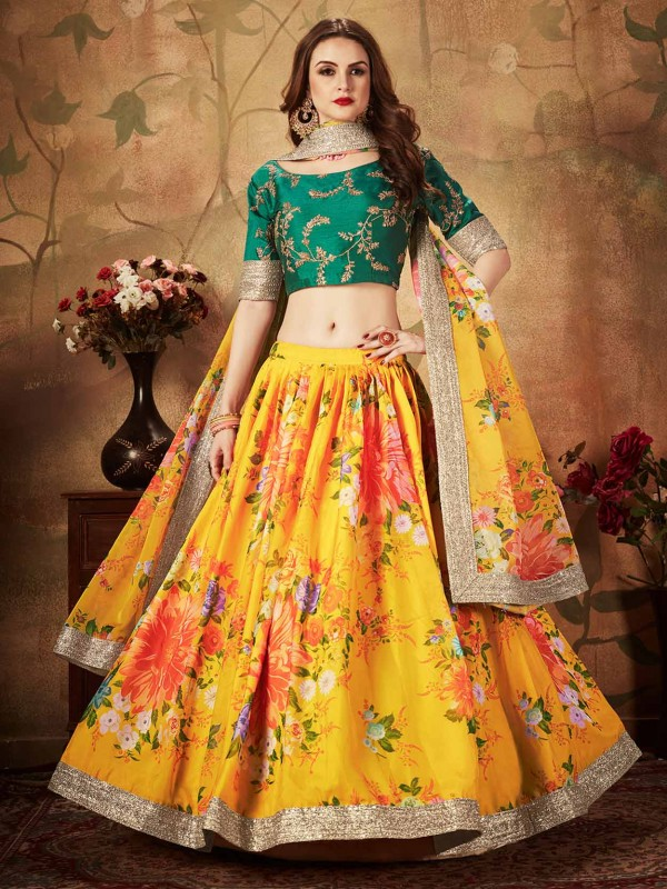 Printed Lehenga Choli Yellow,Green Colour.