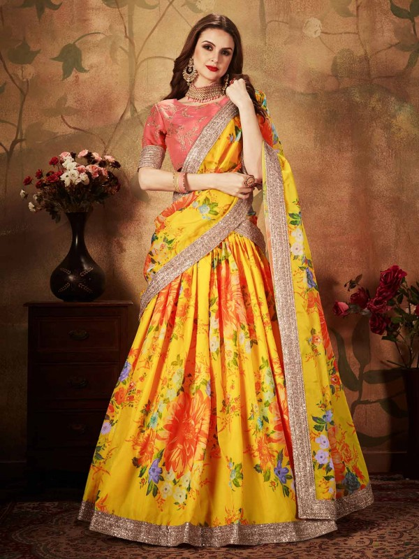 Yellow,Orange Colour Organza Fabric Lehenga Choli.