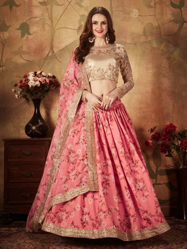 Pink,Beige Colour Party Wear Lehenga Choli.
