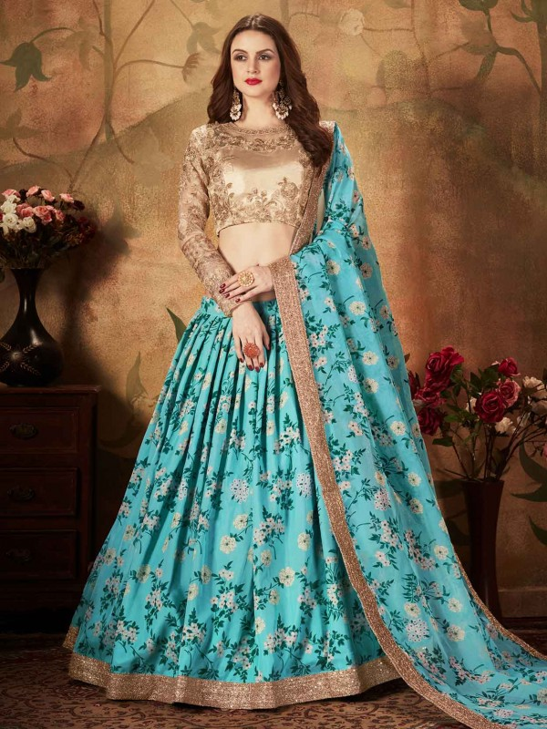 Blue,Beige Colour In Organza Fabric Digital Print Lehenga.
