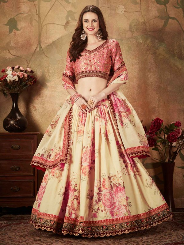 Organza Fabric Digital Print Lehenga Choli.