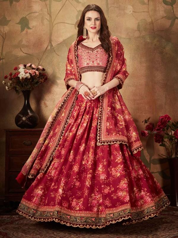 Maroon Colour Designer Lehenga Choli.