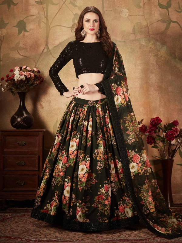 Black Colour Digital Print Party Wear Lehenga.