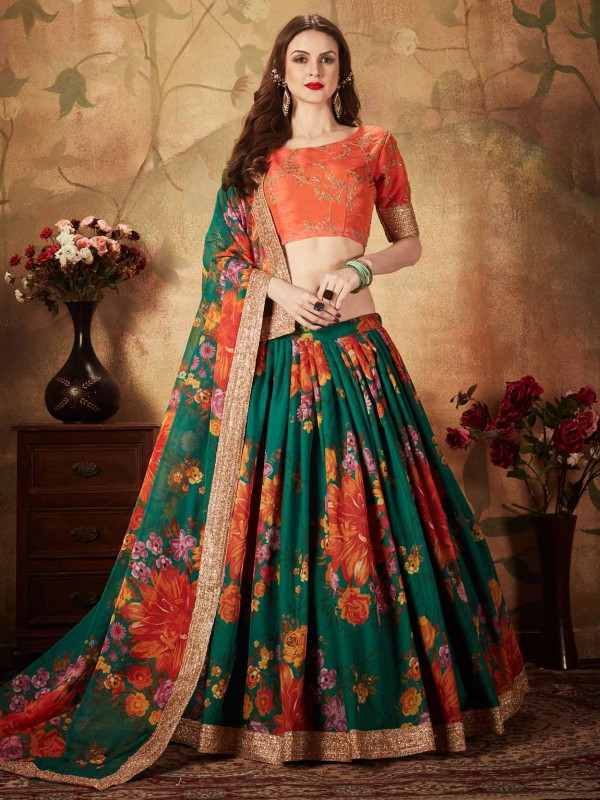 Green,Orange Colour Women Lehenga Choli.