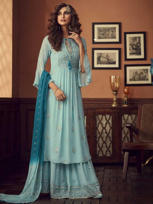 Sky Blue Colour Georgette Palazzo Salwar Suit.