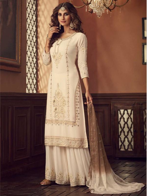 Designer Palazzo Salwar Suit Off White Colour.