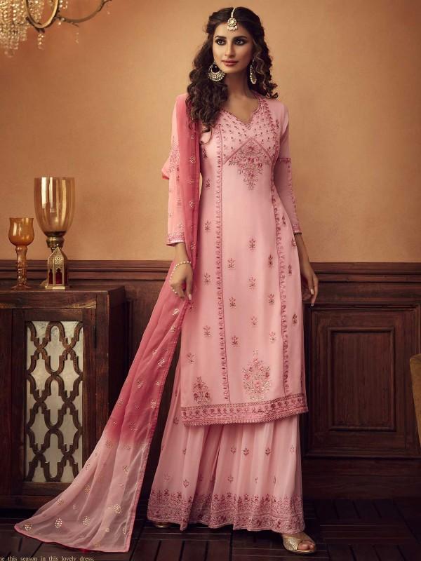 Light Pink Colour Georgette Party Wear Salwar Suit.
