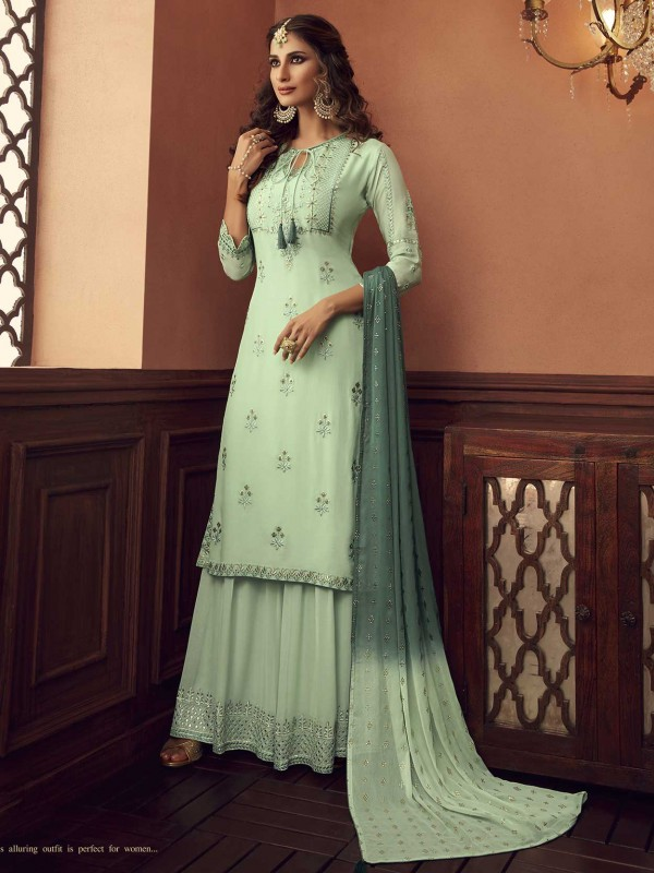 Green Colour Georgette Palazzo Salwar Suit.