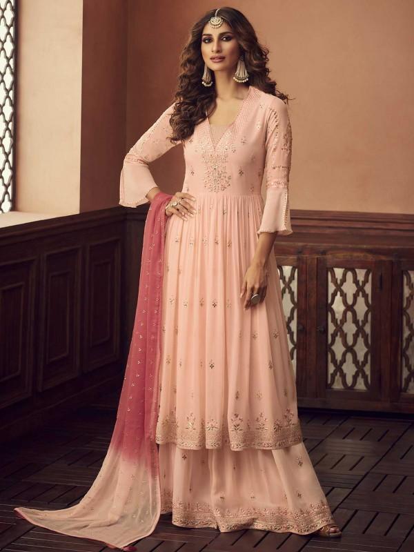Designer Salwar Suit Peach Colour in Georgette Fabric.