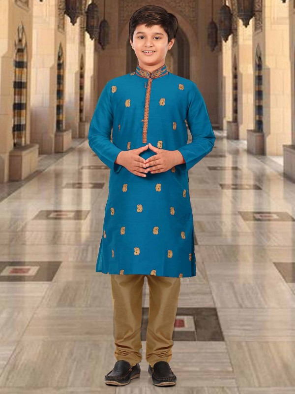 Blue Colour Silk Embroidery Boy Kurta Pajama.