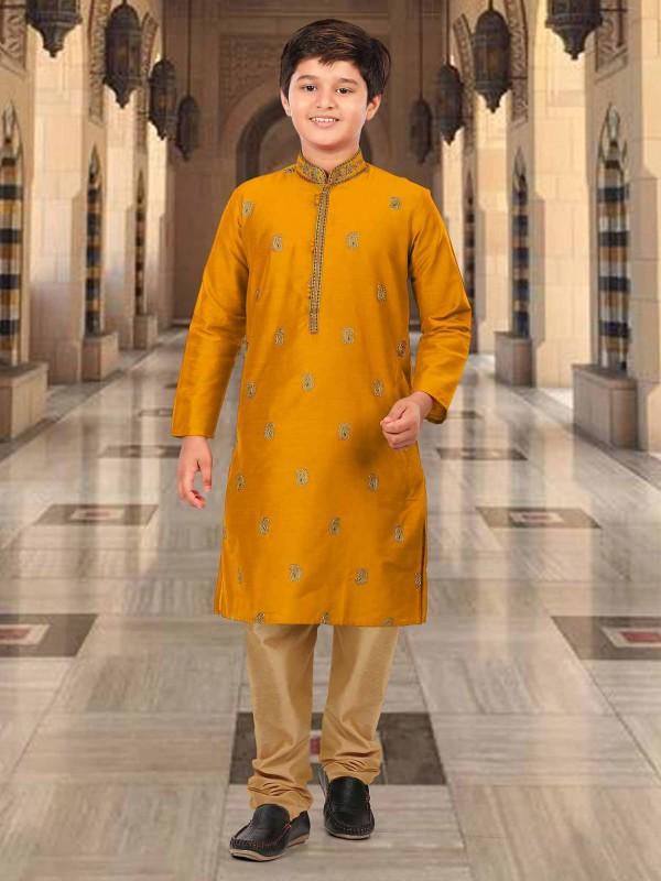 Silk Designer Kurta Pajama Mustard Yellow Colour.