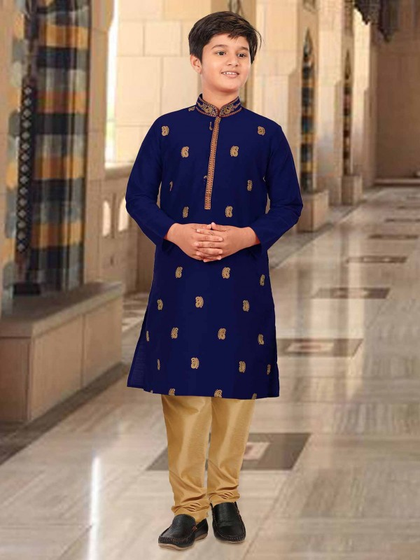 Royal Blue Colour Designer Kurta Pajama For Boy.