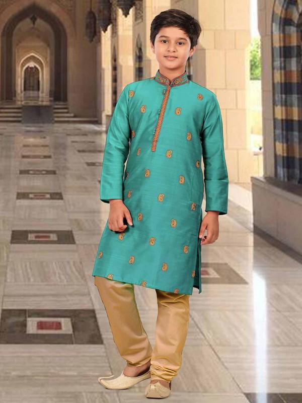 Sea Green Colour Silk Boy Kurta Pajama.