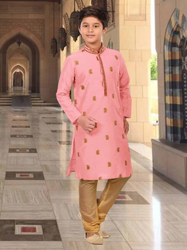 Baby Pink Colour Embroidery Kurta Pajama For Boy.