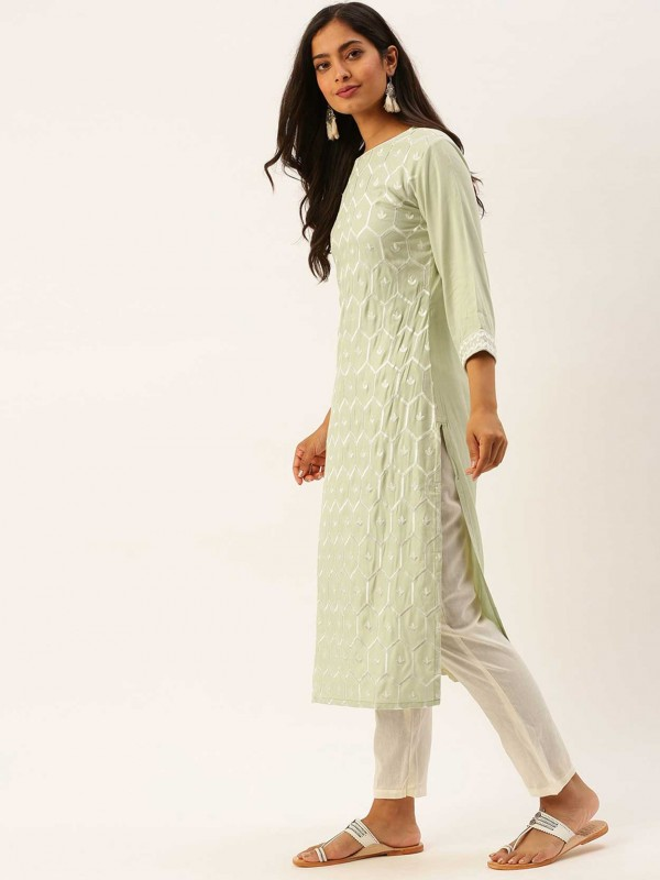 Lime Green Colour Cotton Plain Kurti.
