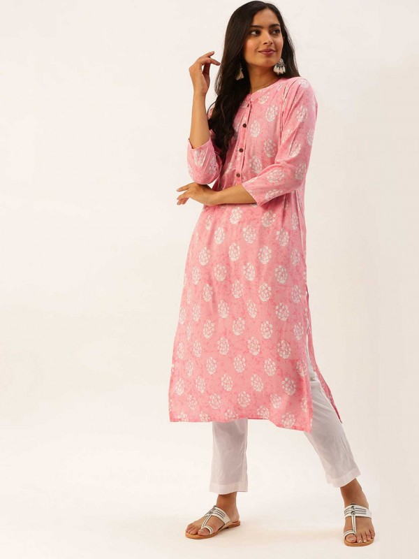 Light Pink Colour Cotton Fabric Women Kurti.