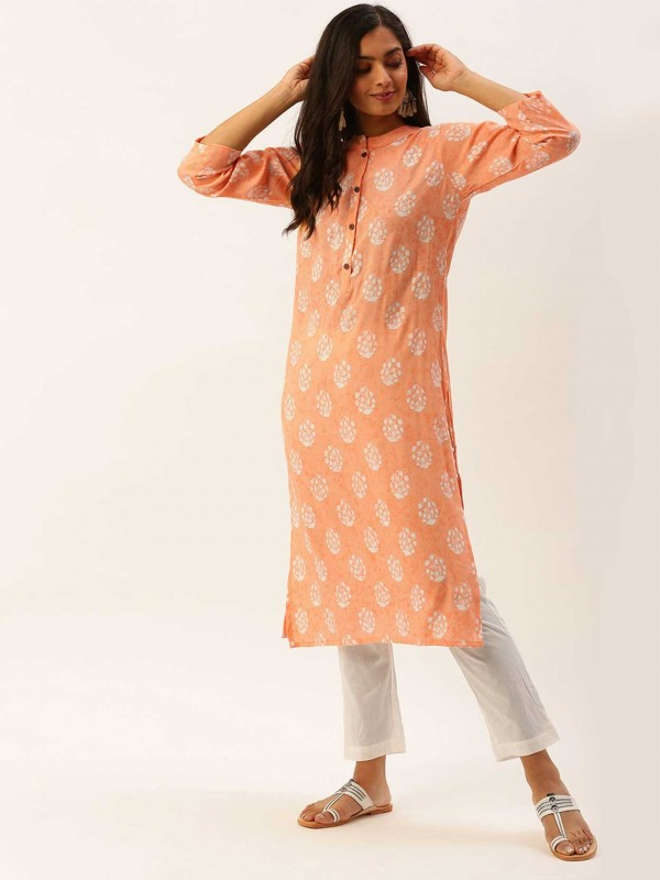 Light Orange Colour Cotton Casual Kurti.