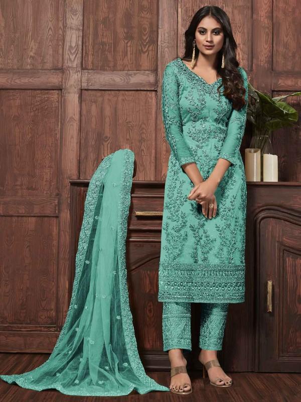 Green Colour Net Designer Salwar Kameez.