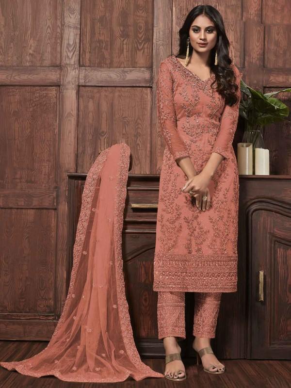 Net Salwar Suit in Rust Colour.
