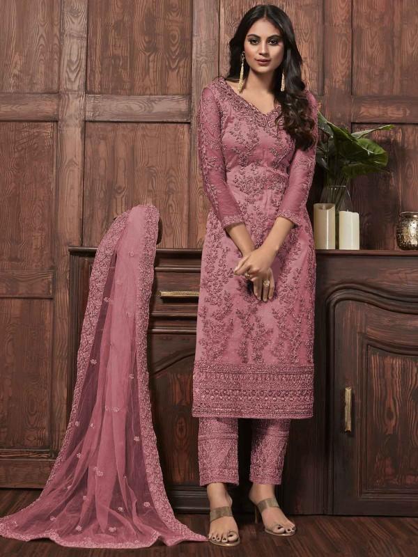 Purple Colour Net Salwar Suit.